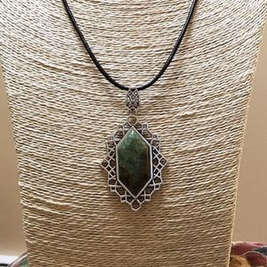 NWT BARSE Green Jasper Pendant Necklace Sterling